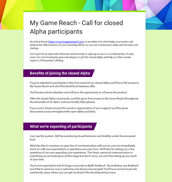 My Game Reach closed Alpha signup